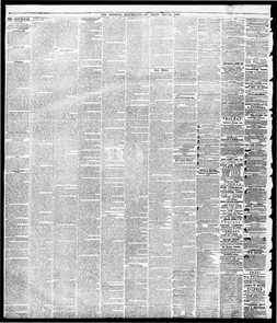 Image of The Missouri Republican from May 25, 1855 iwhich contains the $300 reward ad placed by Henry Shaw for the return for escaped slave Jim. Ad states that Jim escaped from Shaw's country estate Tower Grove.