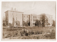 Image of Administration building from Garden side, first rose garden in foreground, 1913.