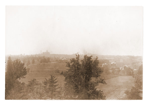 Image of Aerial view of St. Louis from Tower Grove House.  St. Louis Chronic Hospital (State Mental Hospital) in left background.  Copy negative available.
