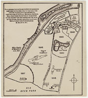 Image of Photographic print of architectural drawing, map diagramming successive additions to Kew, showing dates sections were added.