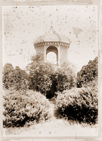 Image of Fruticetum -- Summer House.  Sepia print mounted on display board.  Similar to, but NOT the same as GPN 1982-0048.