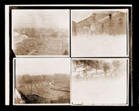 Image of MBG Herbaceous Garden -- contact sheet of all 8 photographs which are part of a panoramic view of the garden shortly before it was removed and replaced.  Two copy negatives available (one for each half).  Some photo images (PHO 2000-0239.2-5) in this set are of the early Parterre and Main Greenhouse complex.  They are kept together because of the negative set.