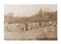 Image of School of Gardening.  Vocational students planting tulips.
