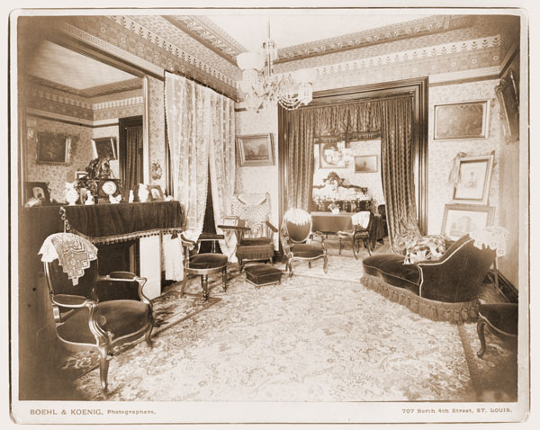 Image of Interior view of #9 Shaw Place, date unknown.  Two original prints, two copy negatives.
