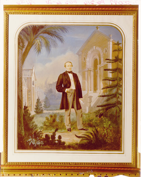 Image of Emile L. Herzinger watercolor portrait of Henry Shaw, 1859.