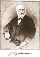 Image of Etched Portrait of Dr. George Engelmann.  Published in Science, April 4, 1884.  Black & white copy print mounted on board.