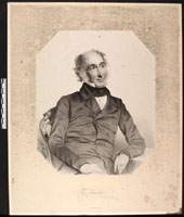 Image of Portrait of William Jackson Hooker, director of Kew Gardens.  Original print copy of charcoal pencil drawing by T. H. Maguire, 1851.