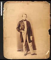 Image of Portrait of Henry Shaw standing holding papers taken in 1858.