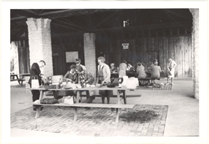 Image of Arboretum (Gray Summit) Dr. Gates with Ladue Garden Club at Trail House, May 4, 1967.