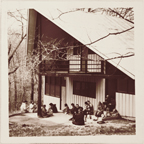 Image of Arboretum (Gray Summit) Students in Dynamics of Landscaping, Barn at Arboretum, 1960s.
