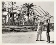 Image of Climatron Construction.  Left:  probably construction foreman of North American Aviation.  Right:  Eugene Mackey (d. 1968) of Murphy & Mackey Architects.  I.D. by Harry B. Richman in T.L.S. 1/10/89.