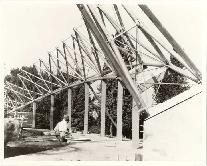 Image of Construction of the Missouri Botanical Garden's Climatron was a learning experience, since a geodesic dome had never been built before.  Negative available.