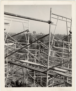 Image of Climatron Construction.  Scaffolding