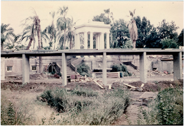 Image of Climatron Construction.  Rear of Climatron - former Italian Garden.  Picture taken Sept. 26, 1959.