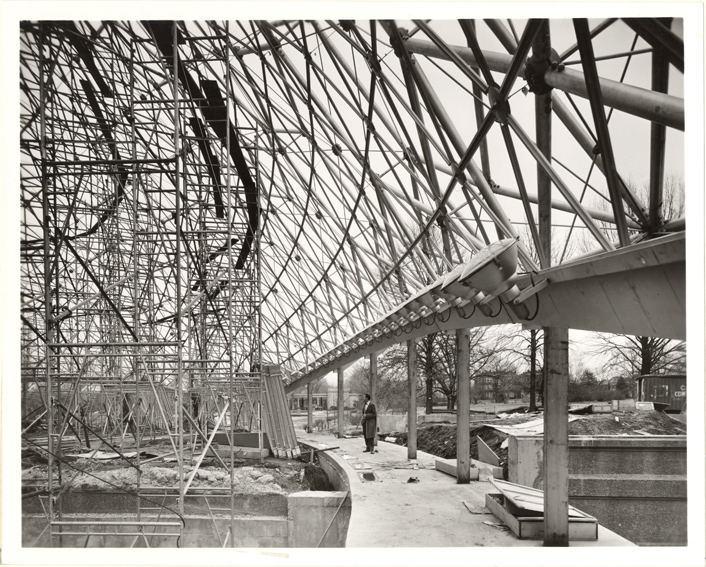 Image of Climatron Construction. 2 copies, one mounted.