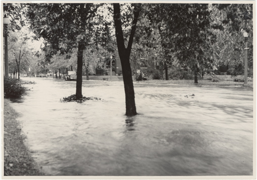 Image of Flooded streets.  Windstorm and hail damage, 1 Sep 46.