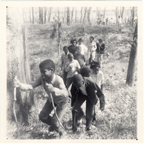 Image of Education Children 1970's.  Group of children hiking.