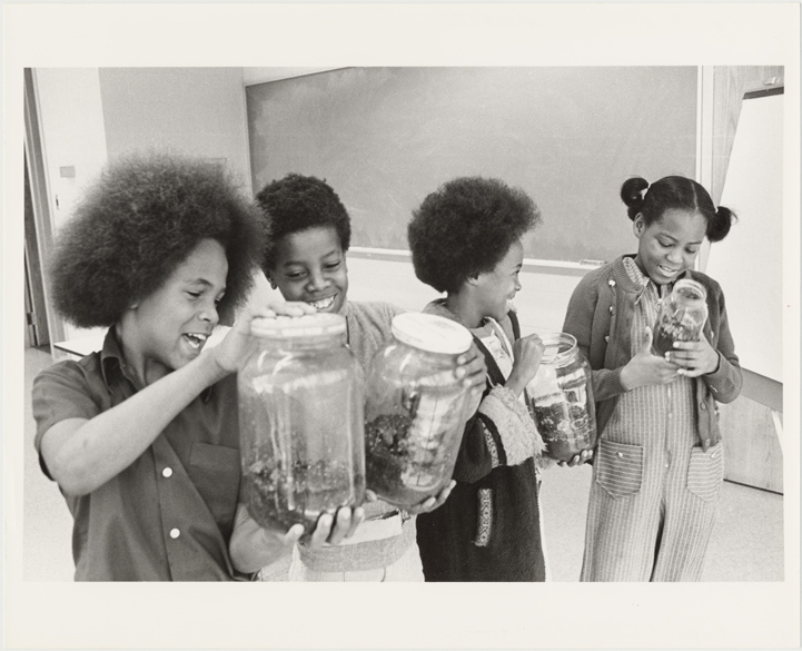 Image of Environmental Education.  Cote Brilliante/Magnet school Program build terrariums and try their hand at plant propogation.  MBG Bull 65(1):5(June 1977).
