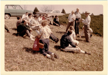 Image of Arboretum/Landscape classes.  Dr. Edgar Anderson lecturing to class in Dynamics of the Landscape.  April 1967.  Photograph taken by Dr. Gates.  Associated with ARC 1979-0041