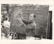 Image of Ken Peck, head instructor, teaching Pitzman summer school 1967.  Similar photo, Peck in same shirt, MBG Bull 57(1):5 (Jan. 1969)