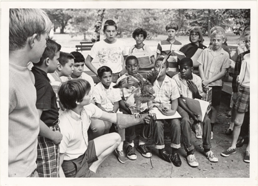 Image of Pitzman Summer Nature Program - Bird class.  1968.  Mounted with PHO 2005-0951.  Negative available at PHO 2005-0872.