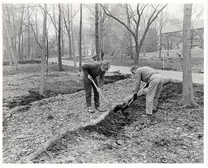 Image of English Woodland Garden.  L-R  John Elsley, Brian Ward.  Mar 21, 1975/