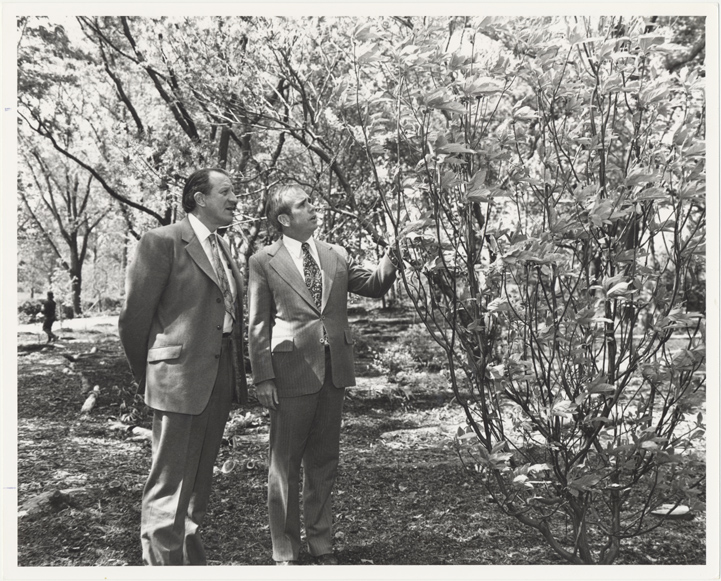 Image of English Woodland Garden.  Dedication.  May 4, 1976.  Professor John Heslop-Harrison, Dir. Of the Royal Botanic Gardnes, KewDirector MBG, Dr. Peter H. Raven.  MBG Bull. Vol LXIV, Number 6, p 1, June 1976.  Same as PHO 2006-0121.