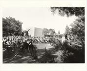 Image of English Woodland Garden. Dedication.   Gov. Christopher S. Bond at podium.  MBG Bull Vol LXIV, Number 6, June 1976, pg 1.