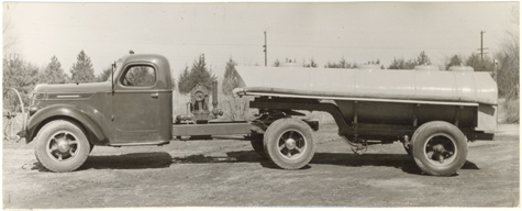 Image of Equipment.  Tank truck as equipped for irrigation, fire fighting and sludge dis.  From
