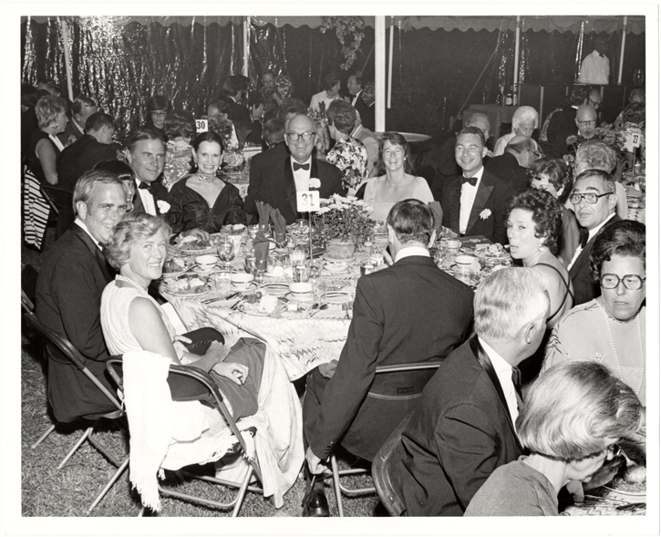 Image of Chrysanthemum Ball, September 10. 1976. Mrs. Tom K. Smith, Jr.; Dr. Peter H. Raven; Mrs. Walter G. Stern; Mr. Robert R. Hermann; Ms. Gloria Vanderbilt; Mr. Tom K. Smith , Jr.; Mrs. Peter Raven; Mr. Walter G. Stern; Mrs. Ken Nash; Mr. Ken Nash (Saks Fifth Avenue); Ms. Pearl Bedell, Assoc. Ms. Vanderbilt.
