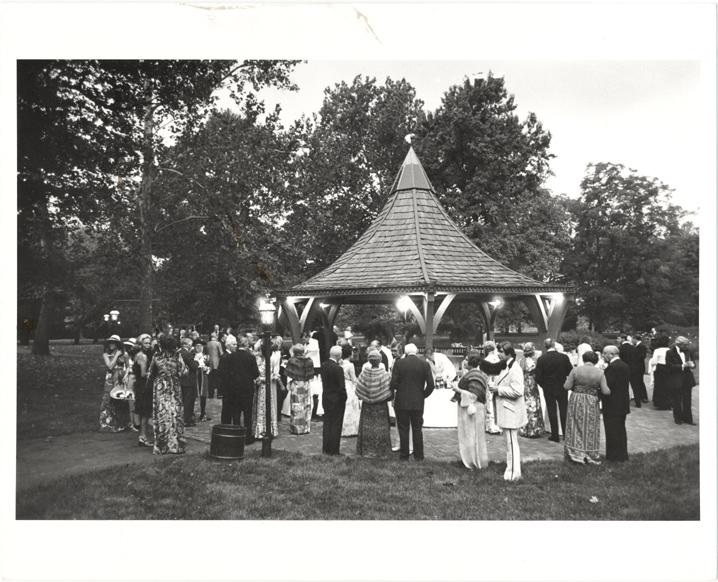 Image of English Garden Party. 20 September 1974.  Gazebo overlooking South Rose Garden.  MBG Bul. Vol. LXIII No. 9, Nov. 1974