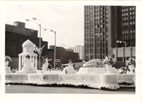 Image of Boatman's float honoring the Missouri Botanical Garden.  May 8, 1966 at dedication of Busch Memorial Stadium.  Mounted with PHO 2006-0230.