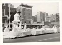 Image of Boatman's float honoring the Missouri Botanical Garden.  May 8, 1966 at dedication of Busch Memorial Stadium.  Mounted with PHO 2006-0229.