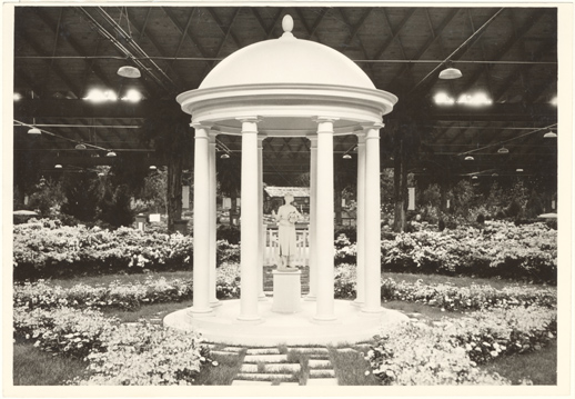 Image of Missouri Botanical Garden exhibit in 14th National Flower Show.  Arena, 5700 Oakland Ave, St. Louis, Mo.  March 26-April 2, 1933.  Mounted with PHO 2006-0411.