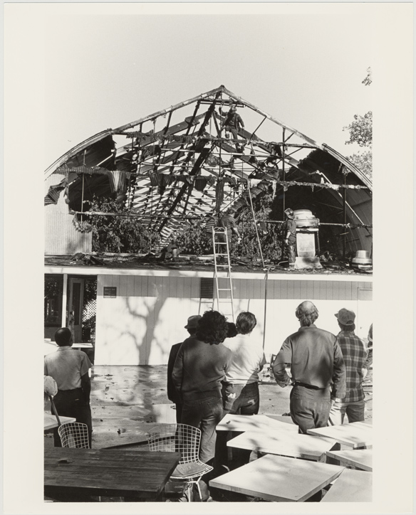 Image of Floral Display House Damage.  Enlargement of negative #16 on PHO 2006-0490.  Same as PHO 2006-0496 and PHO 2006-0499.