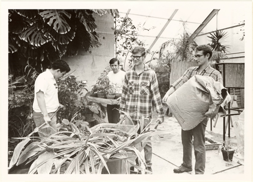 Image of Student Gardeners.  Garden's Horticulture Dept employed college and H. School students on part-time basis.  Newsletter '69, Nov.