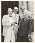 Image of Shaw home opening.  Arthur Baer presenting check to Dr. Anderson.  L-r.  John S. Lehmann, John Bryan (?), E. Anderson, Arthur Baer.  Ca. 1954.