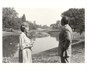 Image of Japanese Garden.  Construction of Crane Island.  Mrs. John L. O'Brien and Dr. Peter Raven.