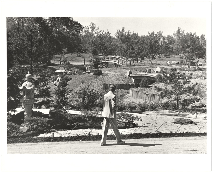 Image of Japanese Garden, Construction and excavation.  Visitor viewing construction.
