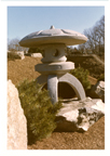 Image of Suwa Lantern in place in Japanese Garden.  Negative available at PHO 2006-1737 #8A.