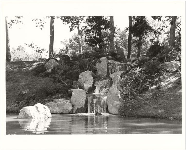 Image of Japanese Garden. Waterfall.