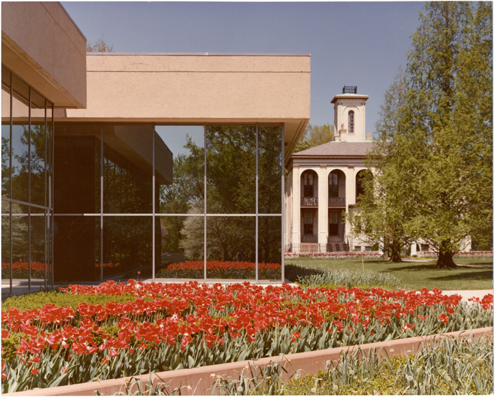 Image of John S. Lehmann Building.  Exterior in spring with Tower Grove House in background.