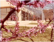 Image of John S. Lehmann Building.  Exterior.  Education wing (greenhouses).