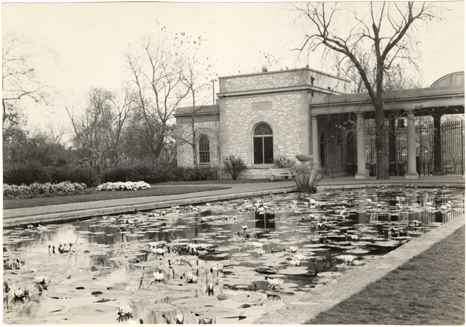Image of Lily Pools and Main Gate.  Nymphaea, Mrs. G.H. Pring in foreground.  Mounted with PHO 2006-2269