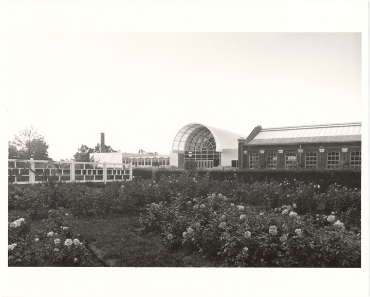 Image of Ridgway Center, exterior.  Looking northwest from Gladney Rose Garden.  Linnean House on right.