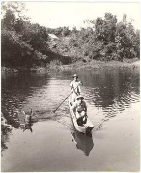 Image of Research in Brazil 1940s.  Schery - Cacao Country.  Crossing Una River in Southern Bahia to reach trail to cacao plantations.  MBG Bull. 34(6):149.  Negative available at PHO 2007-0179.