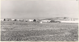 Image of The Canadian Defense Board camp at Lake Hazen.  Some of the tests are insulated and equipped for winter living.  Mounted with PHO 2007-0150.