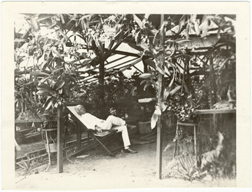 Image of Powell in his garden.