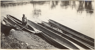 Image of Paul Allen photograph of native canoes.  Mounted with PHO 2007-0363 and PHO 2007-0364.