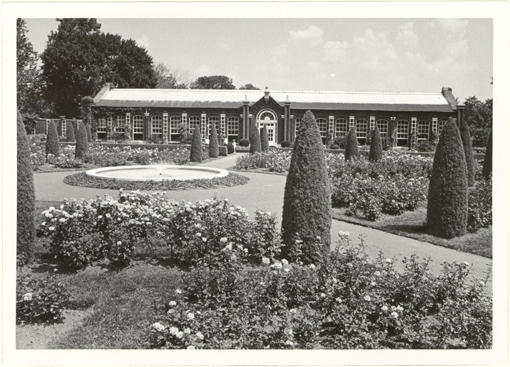 Image of Linnean Rose Garden with Linnean House.  Mounted with PHO 2007-0490.